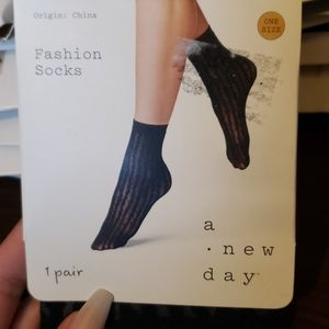 NWT Black Fashion Socks